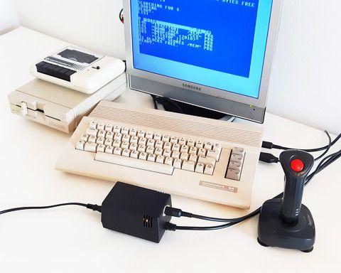 """C64C & 1541-II system running new C64 PSU """"2-in-1"""""""